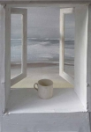 White mug with grey sea