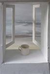 White mug with grey sea